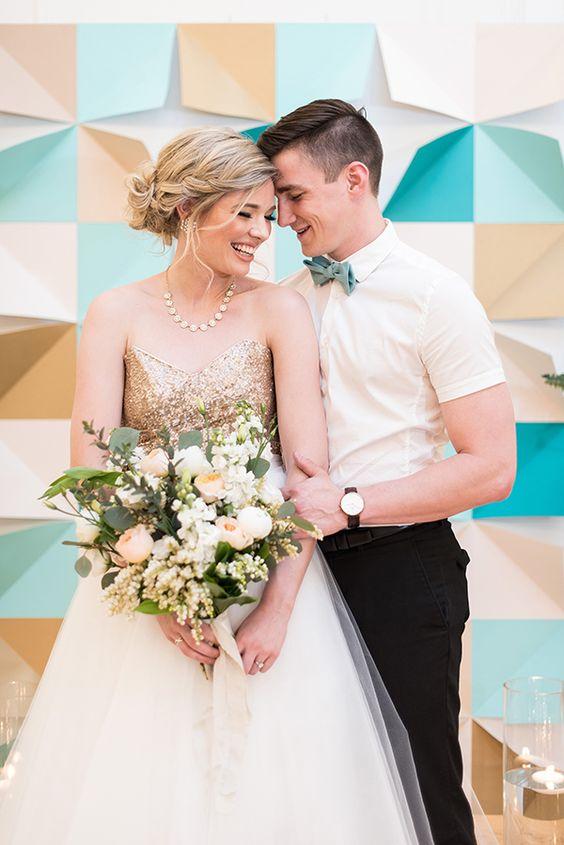 modern wedding style - photo by Hayley Rae Photography http://ruffledblog.com/mid-century-geometric-wedding-inspiration