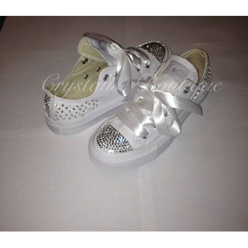 Swarovski Crystal Scatter & Back Panels Low White Leather Converse