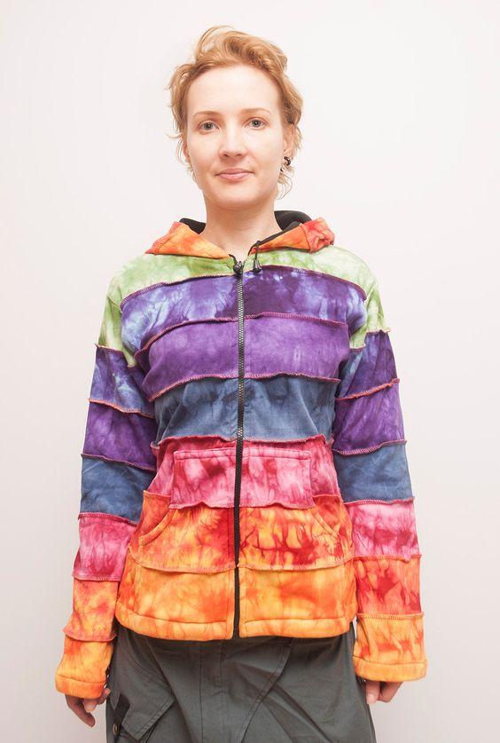 Rainbow Patchwork Jacket Pixie Hippie Men Women от manaKAmana