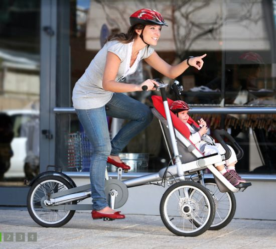 Love this! Bike and Baby Stroller in One