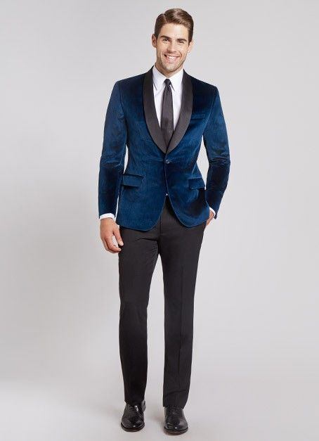 Images of Navy Blue Velvet Blazer - Reikian