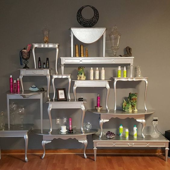 Table-wall product display.  #pasalon #hatborosalon #beautifulsalons #tianohairpa #tablewalldisplay #noitwonttopple