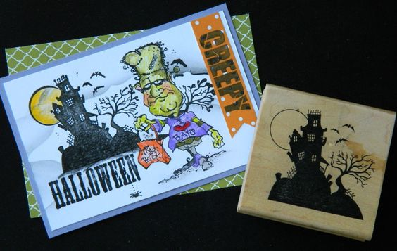 CREEPY TREE HAUNTED HOUSE SCENE ON A HILL bats MOON Grave Stones rubber stamp