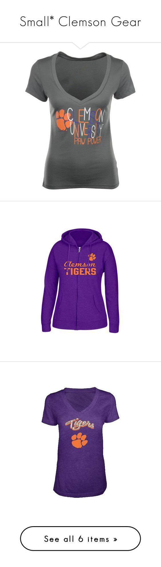 """""""Small* Clemson Gear"""" by lifeofmacy ❤ liked on Polyvore featuring charcoal, tops, hoodies, purple, sweatshirt hoodies, purple hoodie, j america hoodies, purple hoodies, hooded pullover and black"""