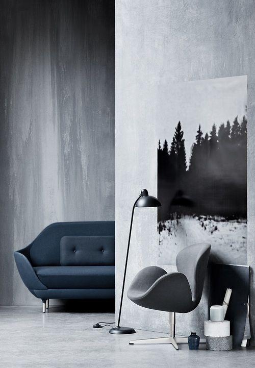 thedesignwalker:  RAZORϟEDGE: Grey Interiors, Fritz Hansen, Design Interiors, Interiors Design, Trees Paintings, Girls Style, Arne Jacobsen, Modern Home, Swan Chairs