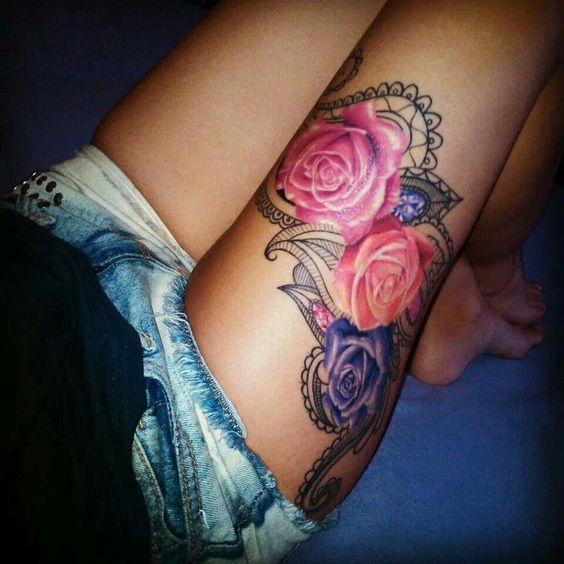 I need this roses lace jewels tattoos piercings for Colorful thigh tattoos