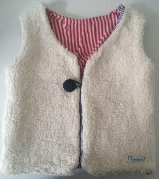 Weste aus Teddystoff bds. tragbar 100% Baumwolle von Eulenwerk auf DaWanda.com