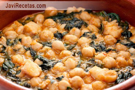 Garbanzos con bacalao y espinacas recipe spinach - Potaje con bacalao y espinacas ...