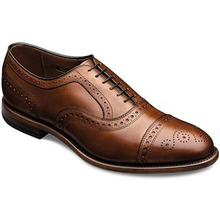 Allen Edmonds - Strand Cap-Toe Oxford Walnut Leather $385. Make a memorable impression with the refined elegance of the Strand cap-toe balmoral from Allen-Edmonds®. This men's dress shoe is crafted of a smooth full-grain leather upper with all-over perforated design for an elevated style. The balmoral detailing is full of personality, thanks to an array of impressive perforations plus a striking medallion on the cap toe.