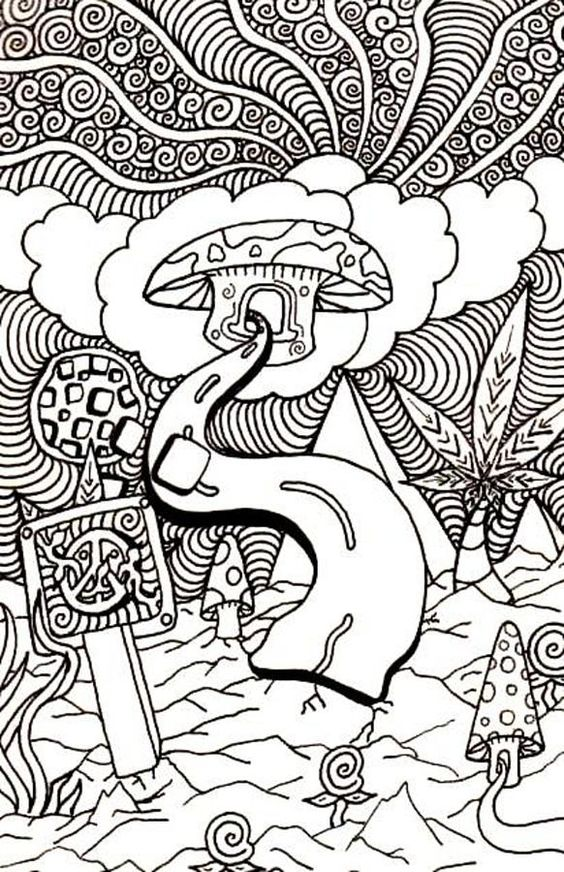 trippy coloring pages mushrooms health - photo#9