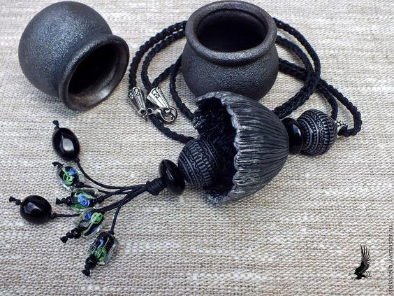 """Купить Комплект из полимерной глины """"Серебряные бутончики"""" - темно-серый, украшения ручной работы"""