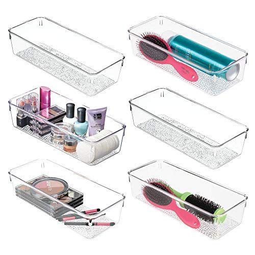 Mdesign Plastic Drawer Organizer Storage Tray For Bathroom Vanity Countertop Cabinet Holds Makeup Brushe Plastic Drawer Organizer Drawer Organisers Mdesign