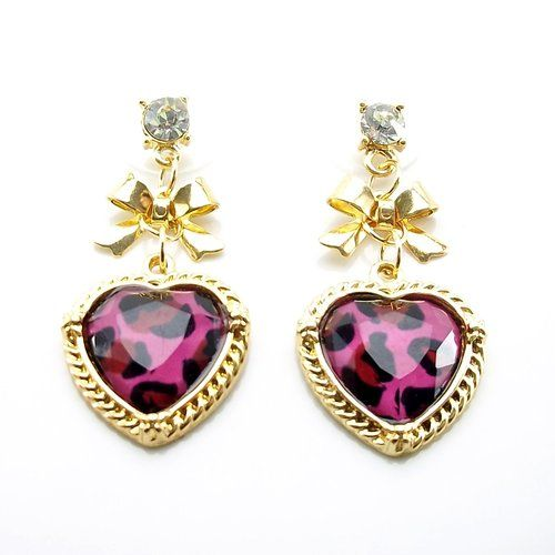 DaisyJewel Presents: Betsey Johnson Signature Bold Magenta Pink Leopard Print Gold Dangle Heart Earrings with Bows, Filigree, an...