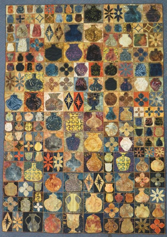 Quilt of jars, urns, jugs , vases. Incredibly beautiful. The colours!