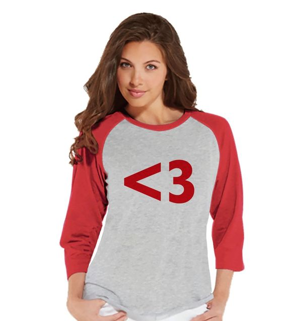 Ladies Valentine Shirt - Womens Heart <3 Valentines Day Shirt - Valentines Gift for Her - Love Happy Valentine's Day - Red Raglan