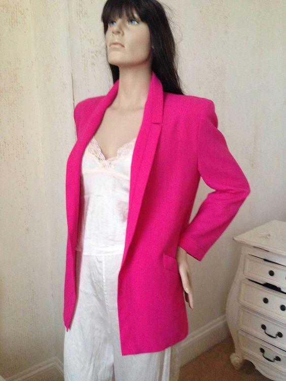 Vintage JACQUES VERT Jacket Size 10 UK 1980's Cerise Pink Boxy ...