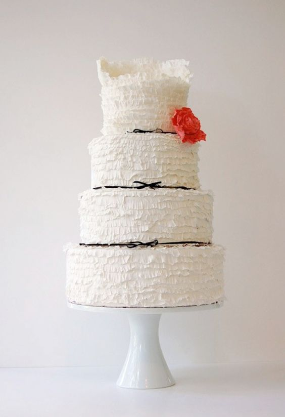 What a beautiful ruffled wedding cake!