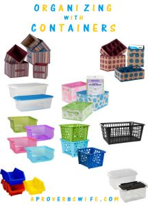 Organizing with Dollar Tree containers.  (Deep freeze etc.)