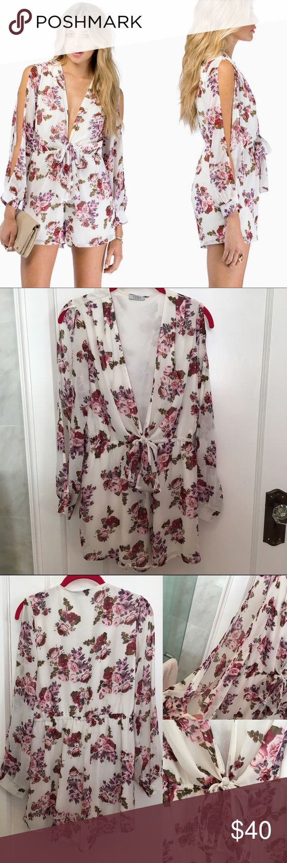 Gorgeous NWOT Tobi Floral Gardenia Romper Sz Large Gorgeous NWOT Tobi Floral Gardenia Romper Size Large. This romper is just a beauty. I never wore it because it cut down too low and my chest is too big. Waist is elastic which is awesome and bow can be adjusted to your liking. Sleeves have slits down the side so your arm is exposed. Tobi doesn't include tags on their merchandise, their clothes only come in plastic bags. But this is brand new and unworn. Tobi Pants Jumpsuits & Rompers