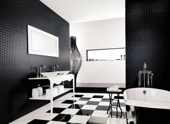 Carrelage salle de bain noir et blanc duo intemporel tr s classe design et interieur - Decoration salle de bain noir et blanc ...
