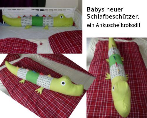 Da das Babybett dringend runter gestellt werden muss, mein Baby dann aber nicht mehr meinen Arm/Kopf zum einschlafen/ kuscheln hat, habe ich ihm ein Ankuschelkrokodil genäht. :-)