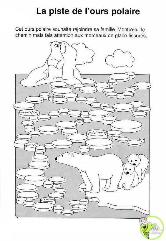 Coloriage la piste de l ours polaire de poolgebieden - Dessin banquise ...