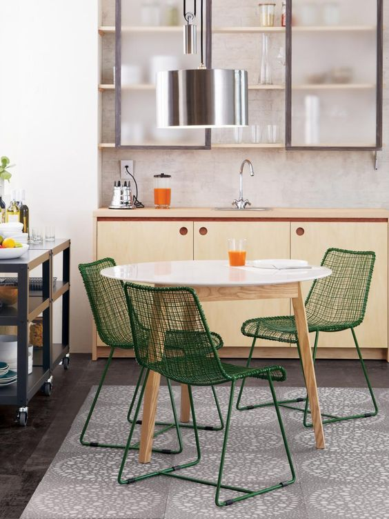 Small space with kitchen and dining set in midcentury modern