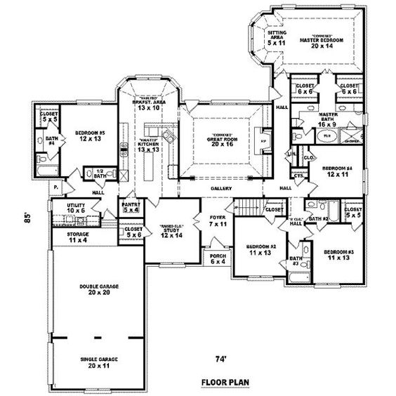 17 Best Images About 4 Bedroom House Layout House Plans