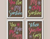Cute Yellow Grey You Are My Sunshine Quote Nursery by trmDesign