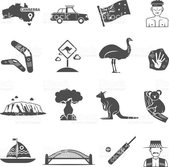 Australia Black White Icons Set royalty-free stock vector art