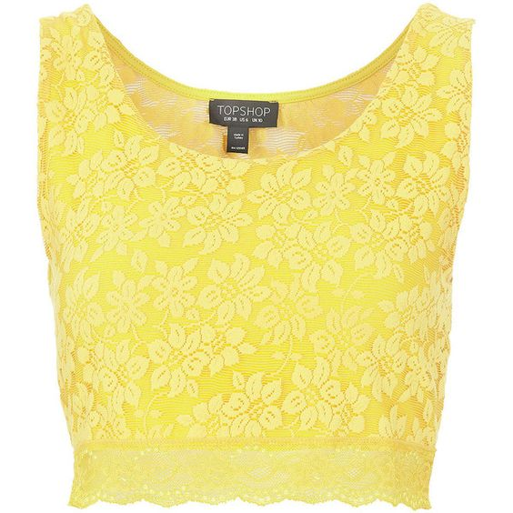 TOPSHOP Lace Crop Top ($30) ❤ liked on Polyvore featuring tops, shirts, crop tops, yellow, blusa, spaghetti-strap top, crop shirts, yellow crop top, lacy tops and strap crop top
