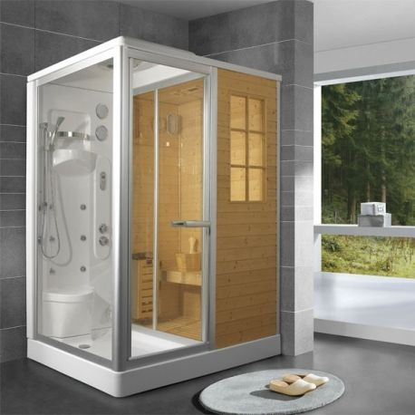 Saunas sauna design and stockholm on pinterest - Cabine sauna hammam combine ...