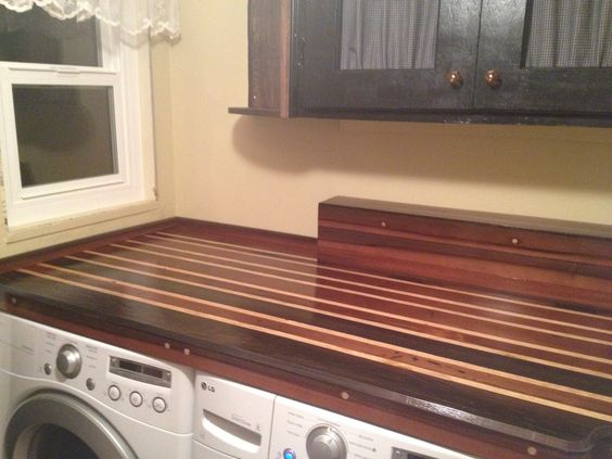My laundry room countertop, solid & clear redwood with a splash of pine