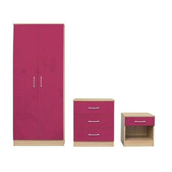 Dakoto Bedroom Set In Pink Gloss And Matt Oak Finish Bedroom Furniture Sets Furniture Locker Storage