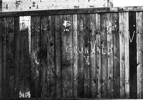 "World War II graffiti from Warsaw. Word ""GrunVald"", was part of Polish counter-propaganda action done by scouts from ""Wawer, and directed against German ""V"" campaign."