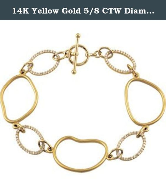 14K Yellow Gold 5/8 CTW Diamond Open Silhouette Bracelet. The Bejeweled Egg jewelry is the creation of timeless beauty.