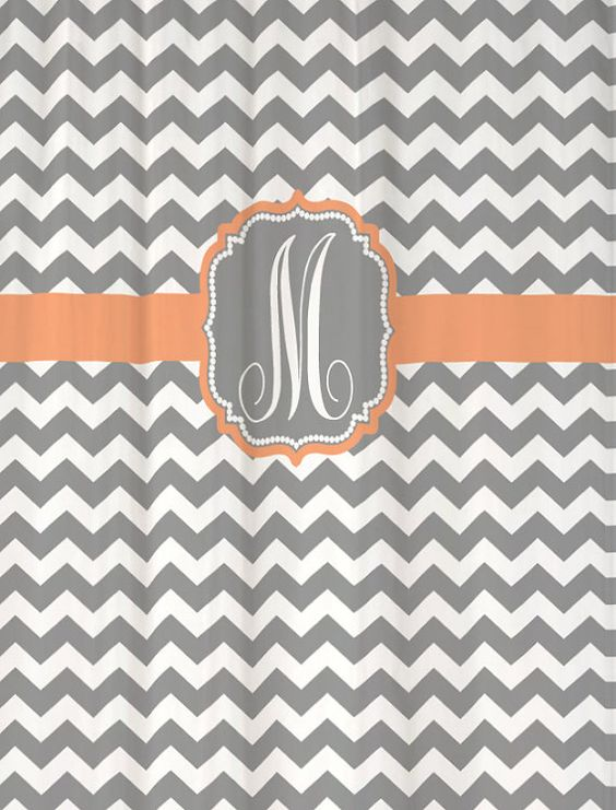 Already printed and in stock Shower Curtain Cool Gray Chevron with ...