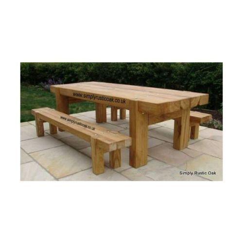 Rustic Oak Beam Garden Table In 2020 Wooden Garden Table Garden Table Garden Bench Table