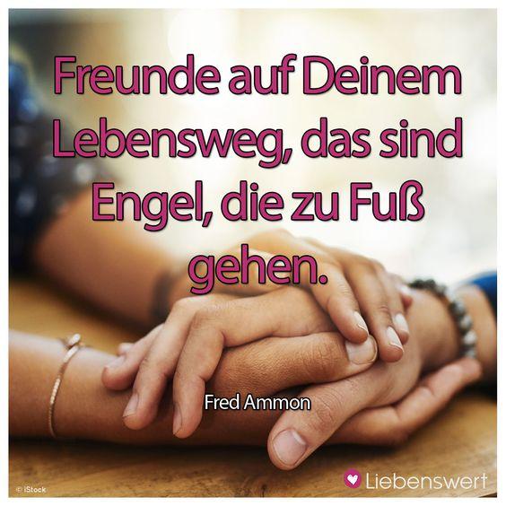 Freunde auf Deinem Lebensweg, das sind Engel, die zu Fuß gehen. (Fred Ammon) #sprüche #freunde #engel