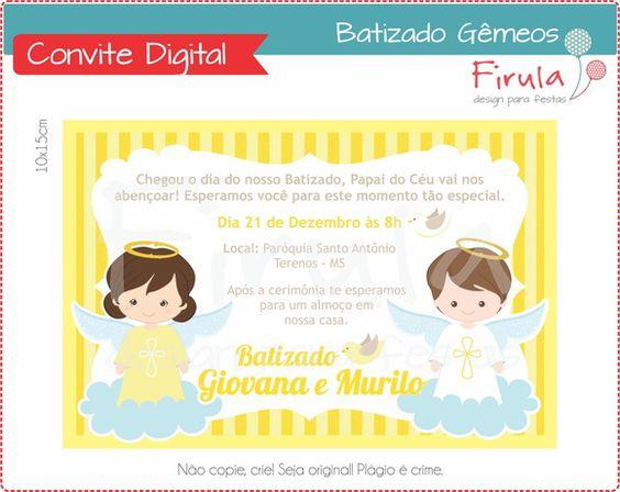 Convite Digital Batizado Amarelo Gêmeos