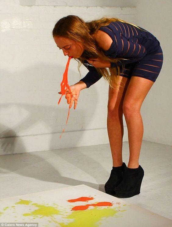 A gente poderia passar horas discutindo os limites da arte contemporânea – ou a falta deles.  Mas eu sou vou contar a história da atriz performática Millie Brownque pinta com seu próprio vômito. Ela mistura cores com leita de soja e fica 2 dias de jejum para que o vômito seja apenas a mistura (...)