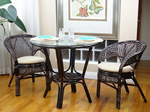 3 Pcs Pelangi Rattan Wicker Dining Set Round Table Glass Top 2