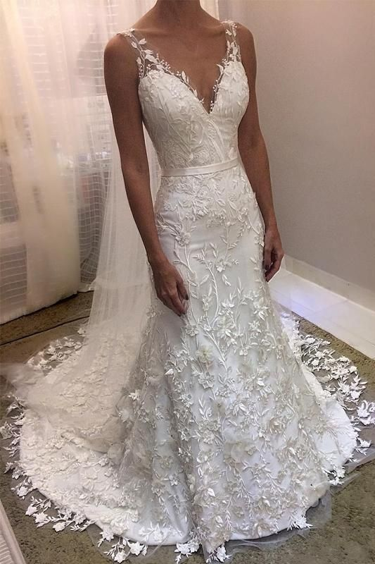 Ivory V Neck Sheath Sleeveless Backless Charming Lace Wedding Dresses N1795 Cheap Bridal Dresses Online Wedding Dress Lace Mermaid Wedding Dress