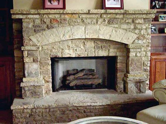 Rock yard fireplaces and arches on pinterest for Fireplace half stone
