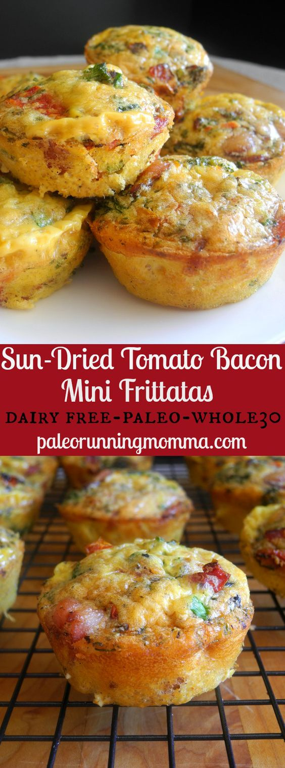 Sun-Dried Tomato Bacon Mini Frittatas.  I tripped the recipe and cooked in a 9 x 11 glass dish for brunch at work.  Was really really great!!!!