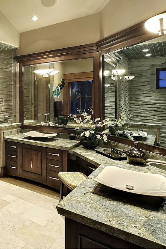 Fabulous corner L-shaped bathroom vanity.  Love the basins.
