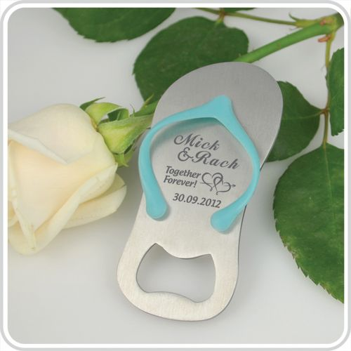 Our Mini Thong Bottle Openers are the perfect favour for beach themed weddings and summer weddings. Personalised with your own special message, it makes a unique and fun gift which is sure to get a laugh out of your guests.