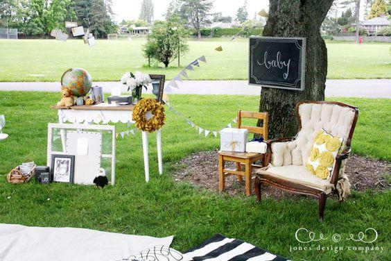 "yellow + grey ""picnic in the park"" baby shower  {Jones Design Co.}"