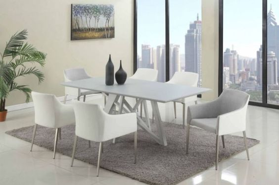 CH kitty Modern Dining table grey glass