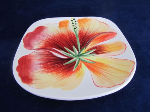 Fitz and floyd in bloom hibiscus snack canape plate white for Fitz and floyd canape plate